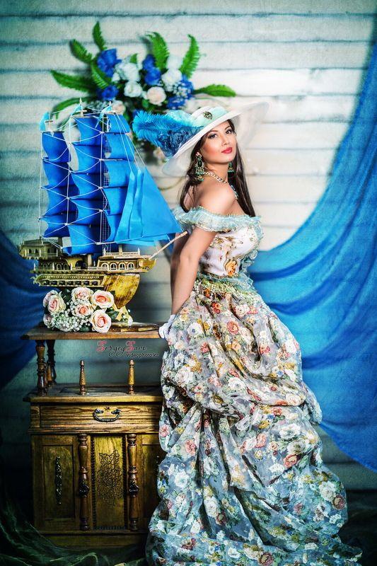 фотопроект, тематическая фотосессия, яхта, парусник, корабль, девушка, платье Blue dream!*photo preview
