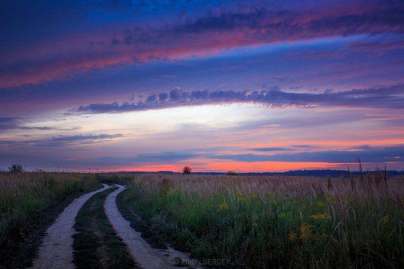 Пейзаж закат небо облака вечер п ...photo preview