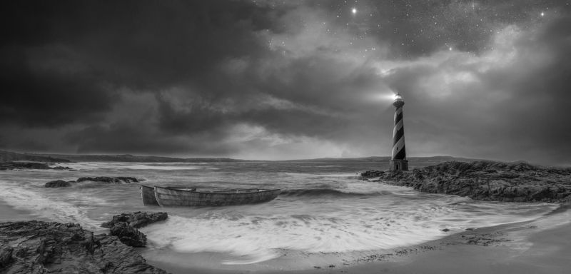 Black and white, Clouds, Dark, Light, Lighthouse, Water, Waves light in the darkphoto preview