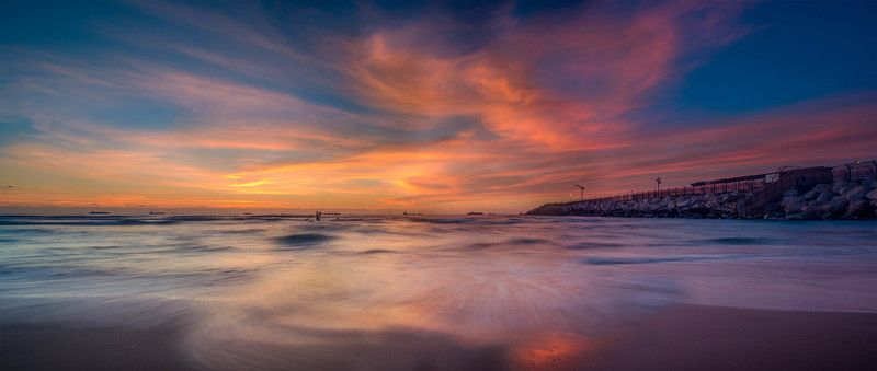 Clouds, Colorful, Sand, Sunrise, Sunset, Waves Follow in the Cloudsphoto preview