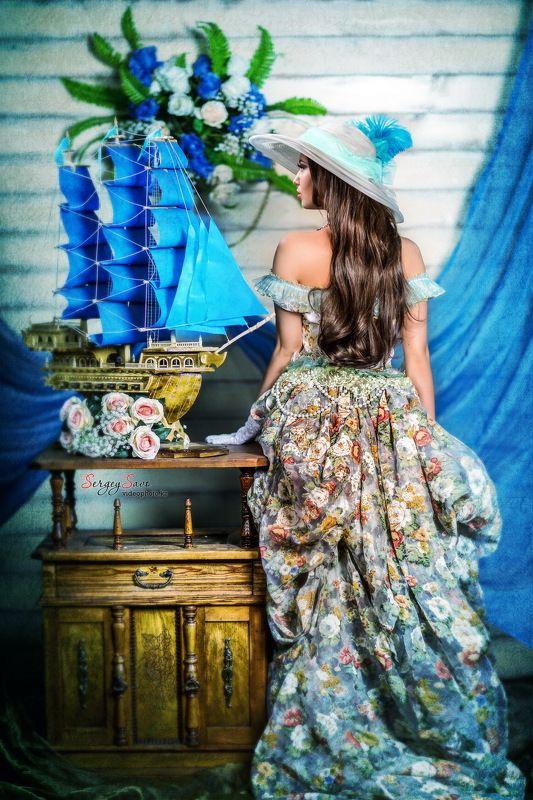 фотопроект, тематическая фотосессия, яхта, парусник, корабль, девушка, платье Blue dream!**photo preview