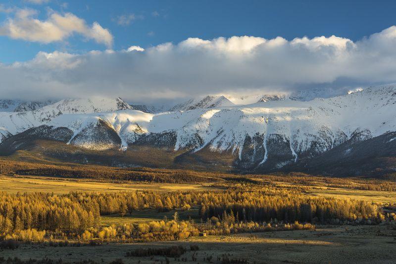 пейзаж, алтай, природа, облака, вечер, горы, небо, снег, закат Красочный вечерphoto preview
