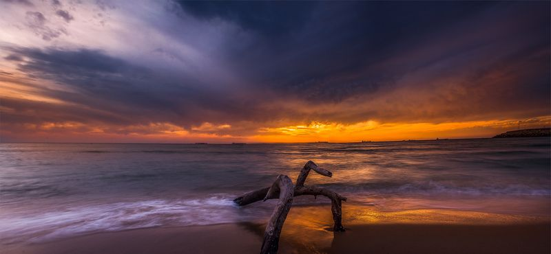 Blue, Clouds, Colorful, Sea, Waves beach panoramaphoto preview