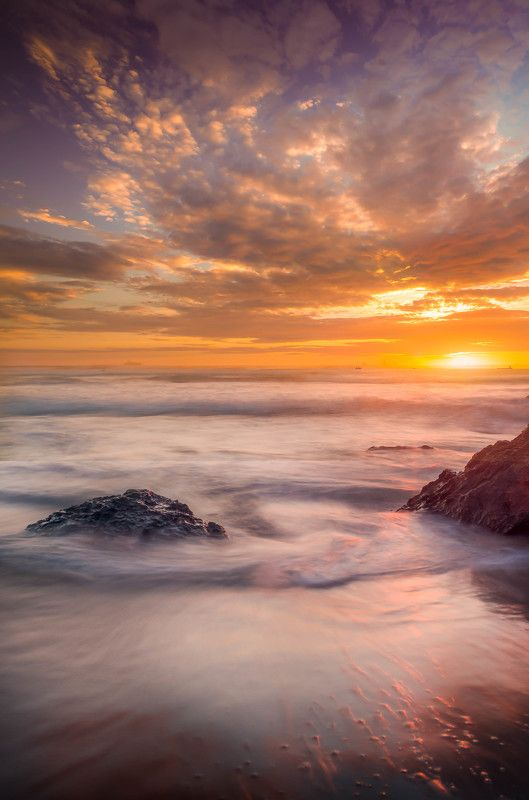 Clouds, Sky, Stones, Sunset, Waves swirlphoto preview