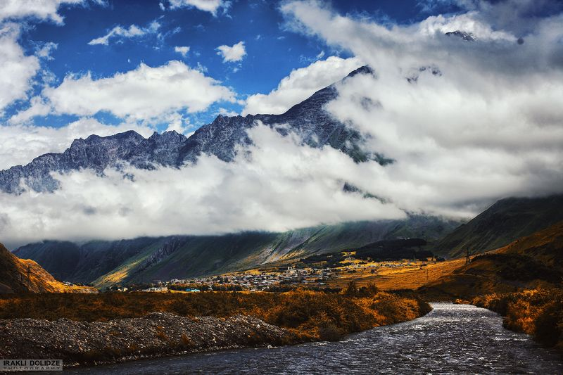 landscape, mountain, river, outdoor, hiking, canon, photography, colored, autumn, clouds, sky, ყაზბეგი/Kazbegphoto preview
