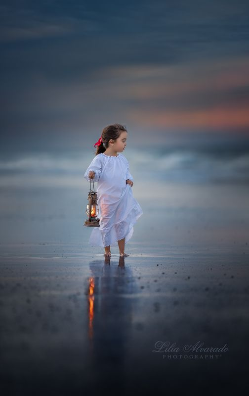 water,ocean,sea,dask,morning,child,brunette, lantern,light,looking The Sea...photo preview