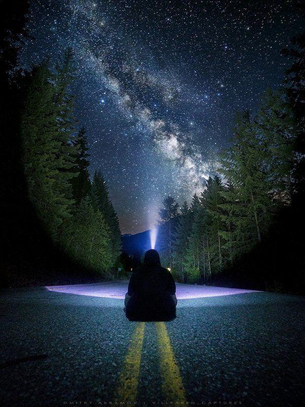 Америка, Британская колумбия, Галактика, Деревья, Дорога, Звезды, Канада, Лес, Млечный путь, Небо, Ночь, Свет Lilloet Road at nightphoto preview