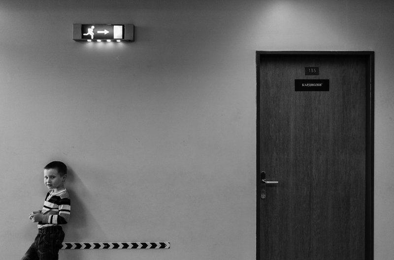 ЧБ, больница, ребенок, мальчик, портрет 135-й кабинетphoto preview