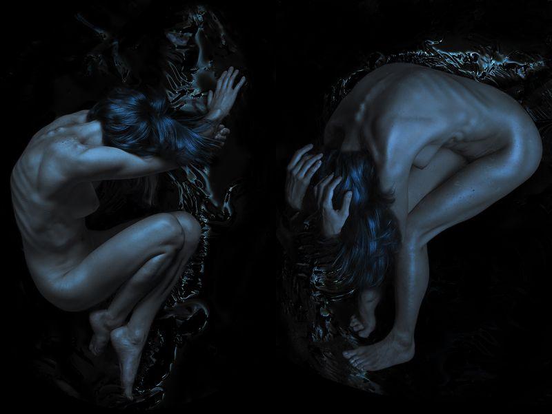 Art, Art nude, Art photo, Art-nu, Blue, Bluehair, Body, Female, Fine art, Girl, Nu, Nude, Photography, Studio, Water, Woman, Арт, Арт-ню, Девушка, Ню, Синий, Тело DEEPNESSphoto preview