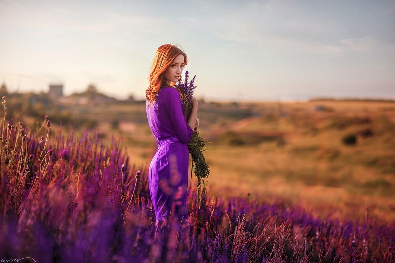red hair, beautiful, girl, summer, sunset, lavander, ukraine Васильковые лугаphoto preview