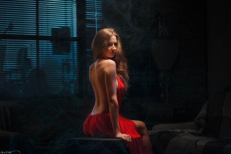 red, dress, beautiful, girl, studio, dnipro Girl in Redphoto preview