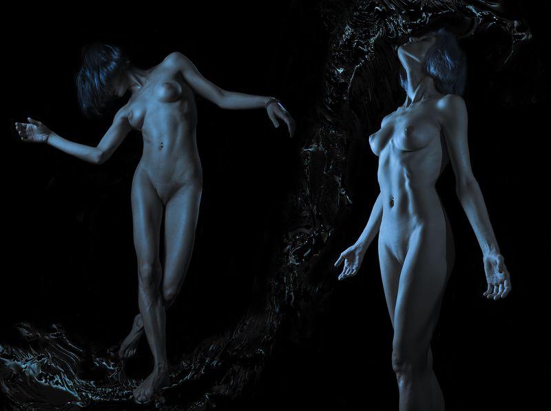 Art, Art nude, Art-nu, Blue, Bluehair, Body, Color, Female, Legs, Light, Lights, Nu, Nude, Studio, Арт-ню, Девушка, Женщина, Ню, Синий, Тело DEEPNESSphoto preview