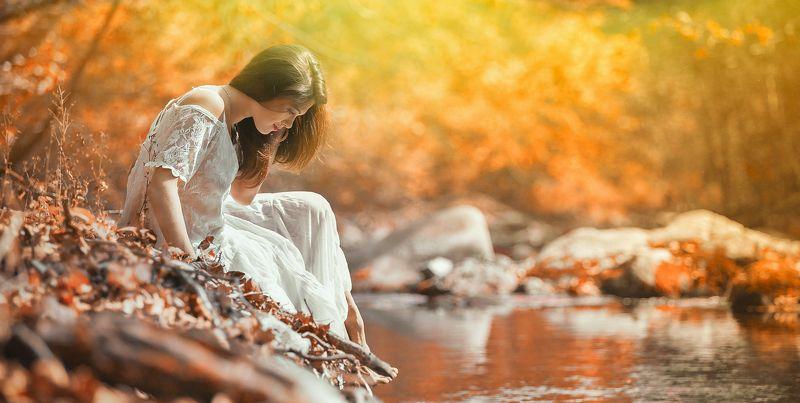 #расивая, , #осень, #, речка, #цветокоррекция, , #платье, #ораньжевый Наташаphoto preview
