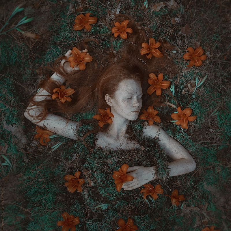 art, fairytale, girl, fashion, beautiful, light, female, model, beauty, face, young, hair, pretty, fantasy, photo, photography, photoshop, dream, body, forest, magic, nature, retoucher, vintage, photoart, green, orange Tiaphoto preview