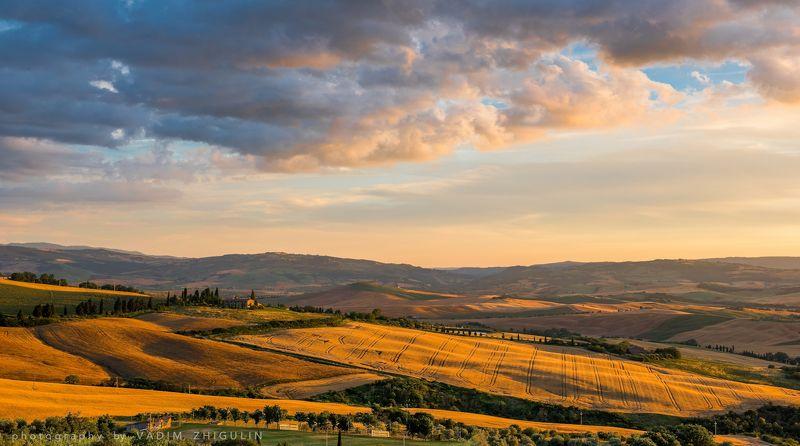 Countryside, Fields, Hills, Italy, Landscape, Monticchiello, Sunset Тосканские холмы на закате.photo preview