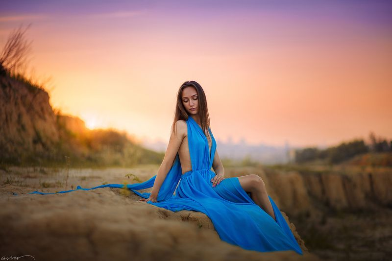 sun, sunset, sky, beauty, girl, dress, portrait В последних лучах Солнцаphoto preview
