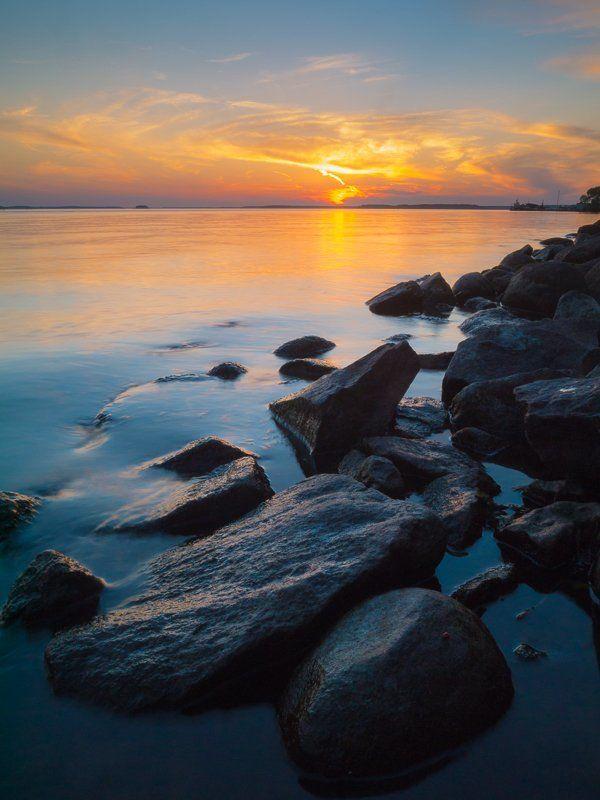 солнце, закат, Дубна, водохранилище Колыбельная для солнцаphoto preview