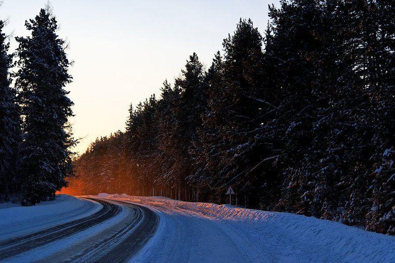 зима, урал, 2010, дорога Рассвет за поворотомphoto preview