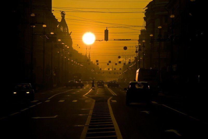 город, невский, солнце, восход, оранжевый, золото Утро большого городаphoto preview