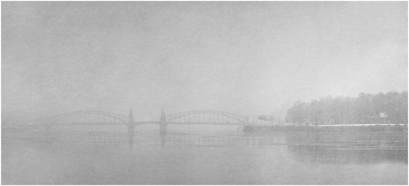 город, петербург, нева, мост, смольный, туман, снегопад, снег, зима Чёрный пёс Петербургphoto preview