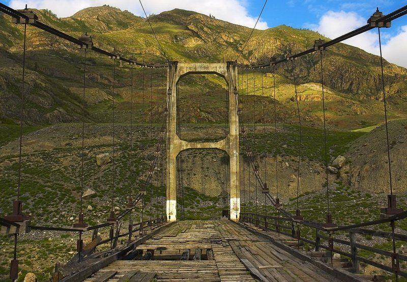 алтай,мост,иня,деревянный,подвесной,первый Мост в историюphoto preview