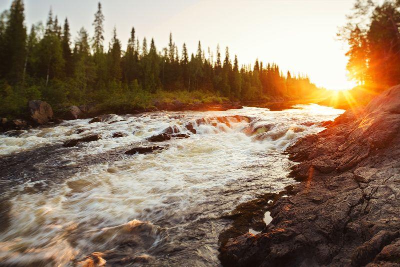 карелия,россия,пейзаж,солнце,закат,пейзаж,тумча, Заходящие солнце в карелииphoto preview
