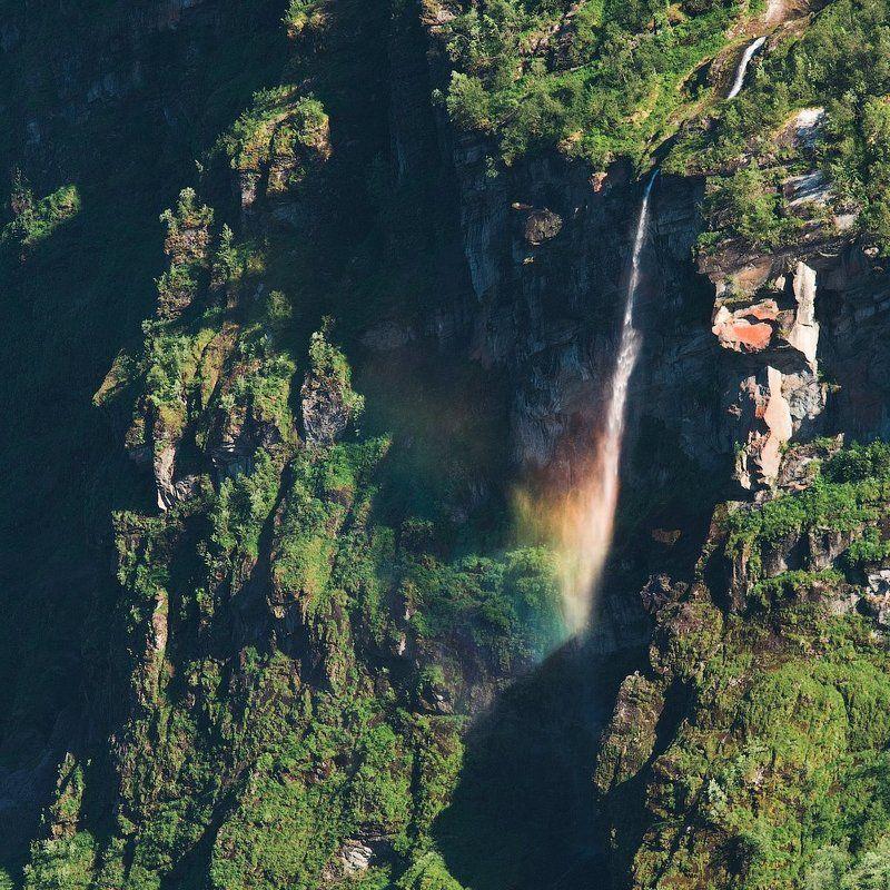 норвегия, водопад, радуга, лес, горы, скалы, norway, waterfall, rainbow, forest, mountains, rocks Радугаphoto preview