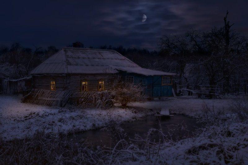 Деревня, Зима, Ночь Где-то в Центральной Россииphoto preview