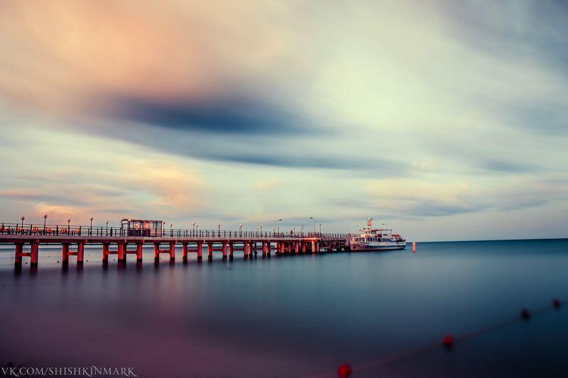рассвет, закат, пейзаж, море, вода, облака Штильphoto preview