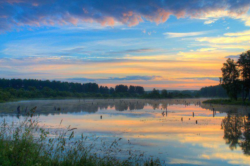 Вода, Лес, Лето, Небо, Облака, Отражение, Пейзаж, Природа, Рассвет, Трава, Утро Отражениеphoto preview