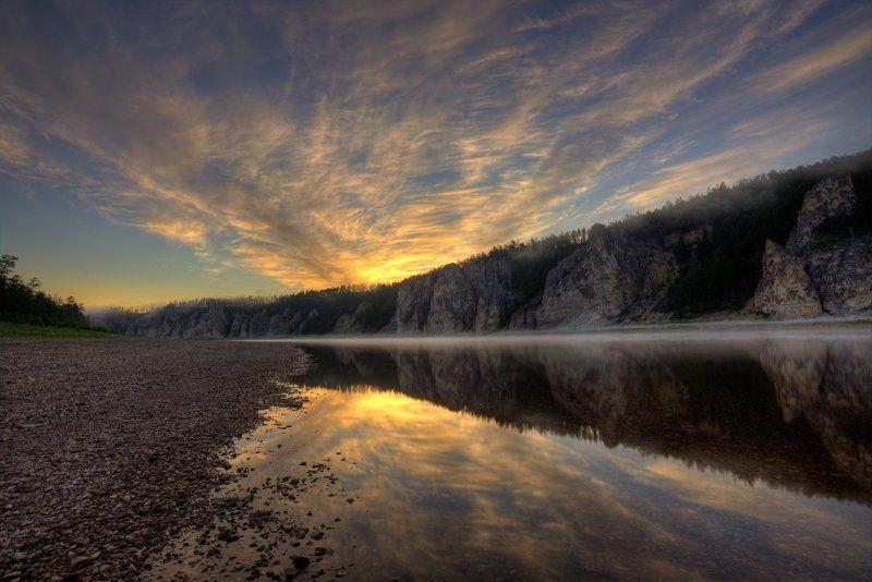 природа, река, скалы, Якутия, рассвет, север, тайга, дикая природа Начало дняphoto preview