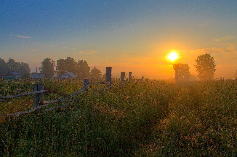 Деревня, Дорога, Забор, Небо, Облака, Пейзаж, Природа, Рассвет, Россия, Солнце, Трава, Туман, Утро Утро в деревнеphoto preview