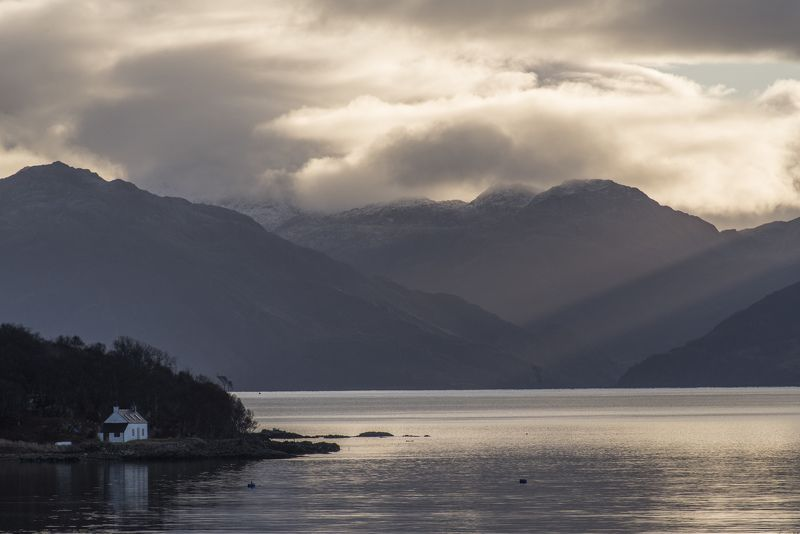 облака, шотландия, море, горы, пейзаж, утро, природа, восход Утренний вид на Лох-Хурнphoto preview