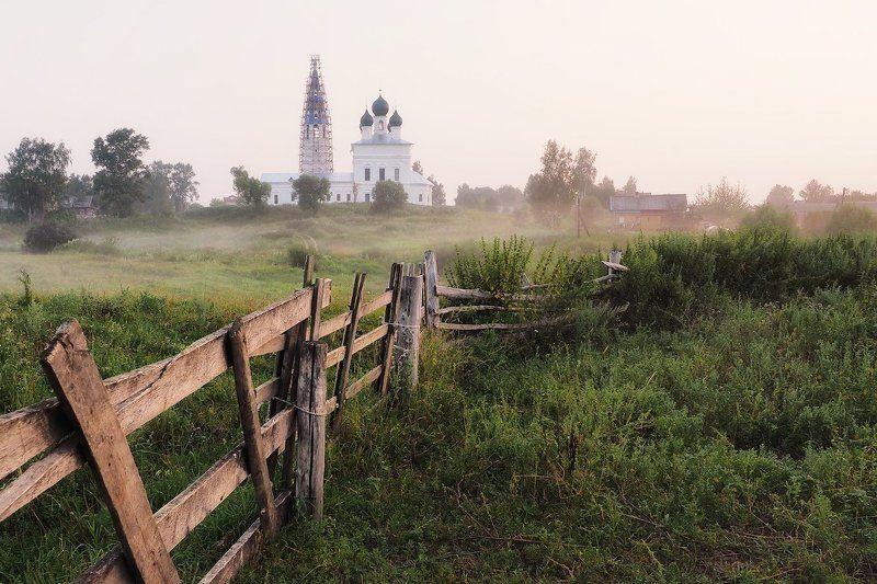 восход, лето, село осенево, туман, утро, храм, ярославль ****photo preview