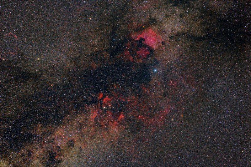 водородные туманности, денеб, млечный путь, подмосковье, созвездие лебедь Комплекс туманностей созвездия Лебедьphoto preview