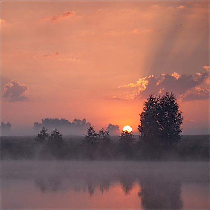 Landscape, Вода, Восход, Заря, Лето, Пейзаж, Природа, Рассвет, Россия, Солнце, Тишина На заре...photo preview