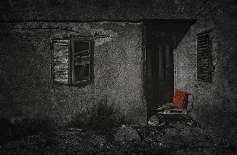 architecture, art, bw, chair, croatia, door, house, pasman, red, trogir, wall, window, арт, архитектура, дверь, дом, красный, остров, стена, стул, хорватия, цвет, чб Home sweet home..photo preview