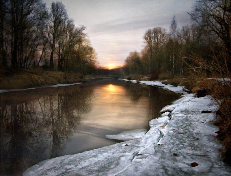 закат, река, весна Весенний закатphoto preview