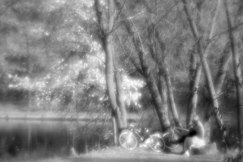монокль, природа, пруд Деревья, бережок, вода... - Посиделки у пруда...photo preview