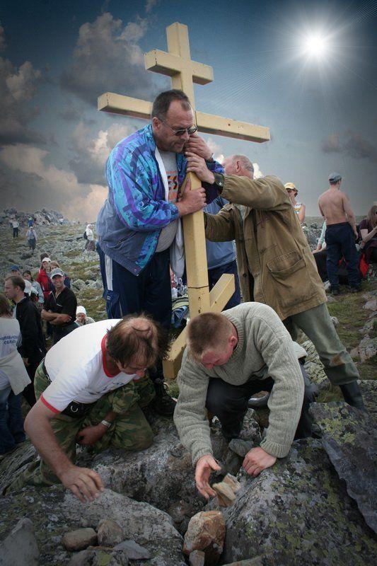 крестный, ход, на, , , праздник, , преображения, господня. на вершине горы Еремельphoto preview
