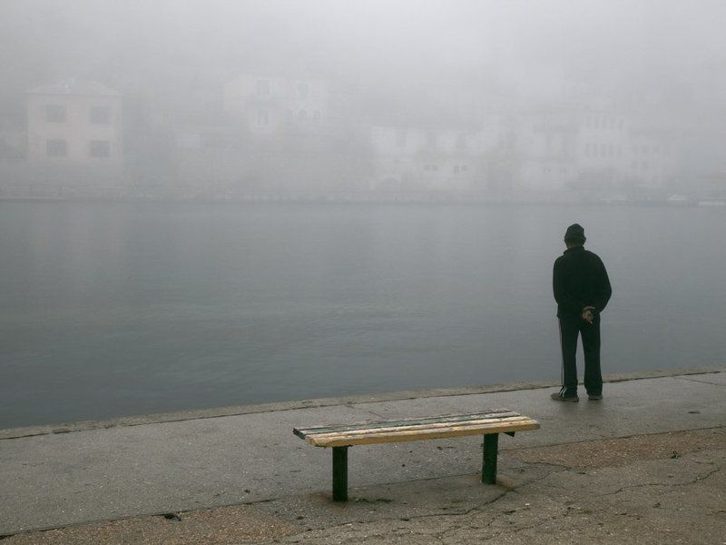 один,бухта,туман одиночество.photo preview