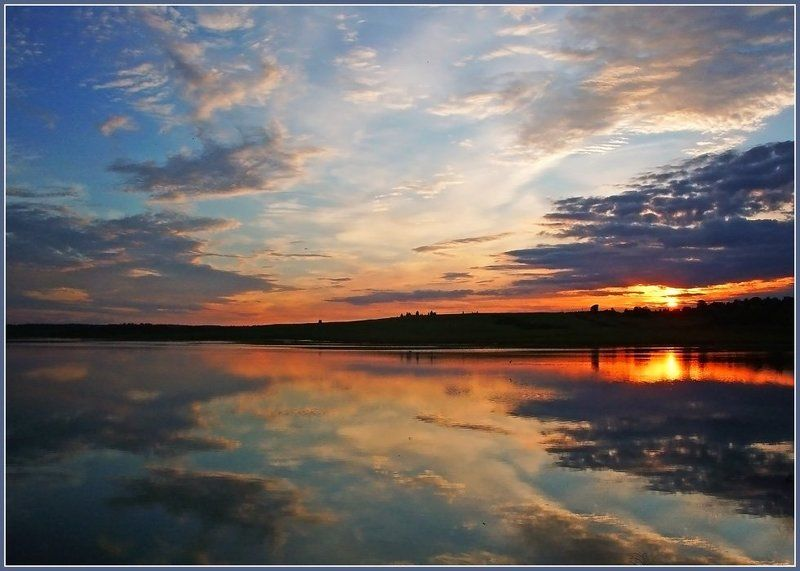 закат,небо,пруд,удмуртия Закатное зеркалоphoto preview