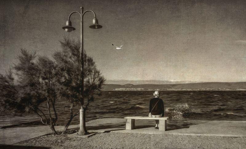 Девушка, Море, Фонарь, Чайка, Чб alone with the sea..photo preview