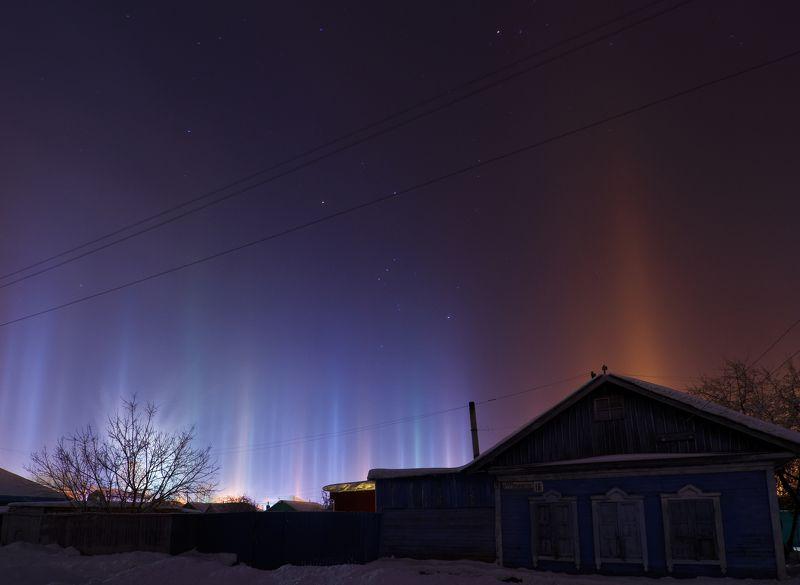 пейзаж омск зима световые столбы деревня Световые столбыphoto preview