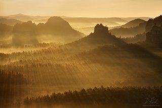 Sunbeams in the landscape