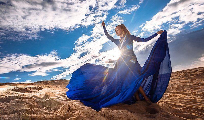 Девушка, Екатеринбург, Небо, Пески, Платье, Синий, Солнце SPPphoto preview