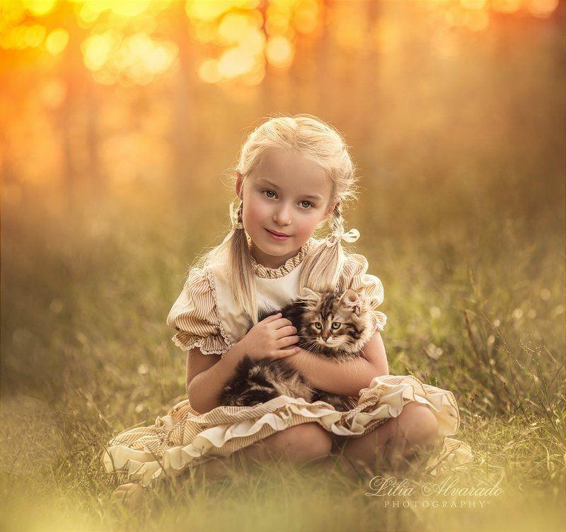 kid,girl,child,children,kitten,cat,vintage,warm,nature, In Your Armsphoto preview