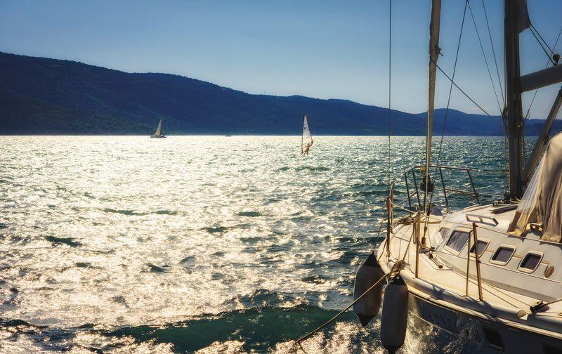 ветер, волны, закат, лето, море, остров, отпуск, путешествия, хорватия, яхта На закате в Трогире..photo preview