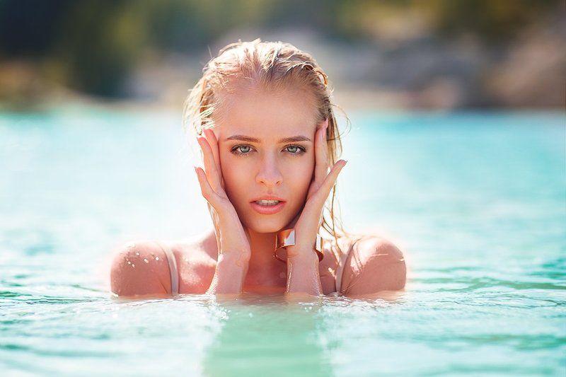 Blondie, Blue, Eyes, Model, Ocean, Sea, Summer, Sun, Sunset, Tropical Svetaphoto preview