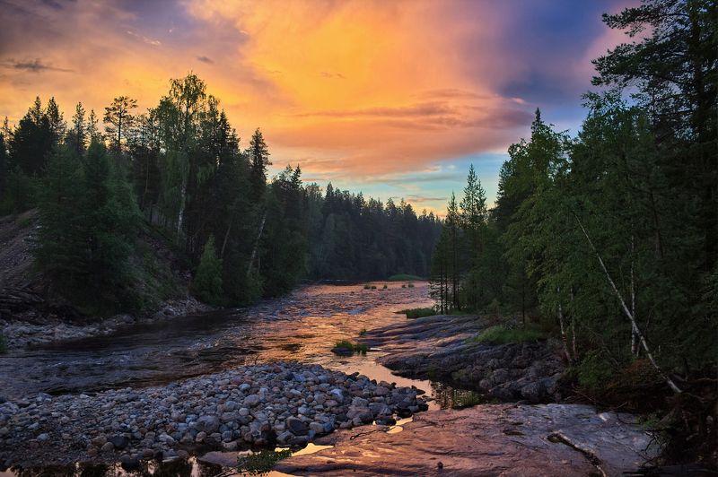 закат,карелия,войница,пейзаж Закат на реке Войницаphoto preview